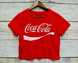 Coca Cola Shirt Womens Size Large Red Cropped Coca Cola Logo T Shirt New