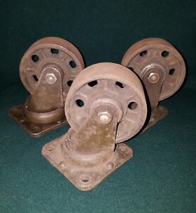 3 Antique Industrial Factory Casters Cast Iron Steampunk Heavy Duty Cart Wheels