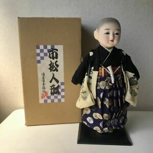 Japanese Ichimatsu Doll Boy 17 5 45cm Tall On Wooden Base Figure Statue Old