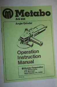 Metabo Ag 550 Angle Grinder Operation Instruction Manual
