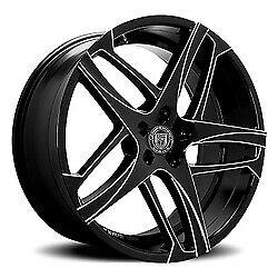 24x10 Lexani 668 Bavaria Gloss Black Milled Wheels 6x5 5 30mm Set Of 4