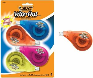 Bic White out Brand Ez Correct Correction Tape 4 Pack Bic Wite Out Tape