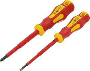 Set 2 Screwdriver Electrician Insulated Flat 0 5 32in ph2 1000vac 1500vdc Vde