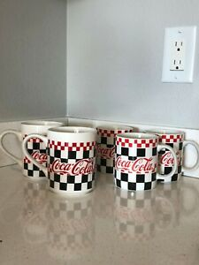 Gibson Checkered Coca Cola Mugs (Set of 5)