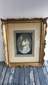 Antique Ornate Gold Frame With Photograph 9x11