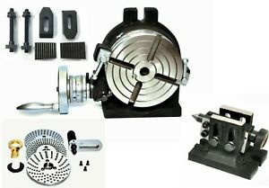 Precision 6 Rotary Table With Indexing Plate Set Tailstock M8 Clamping Kit