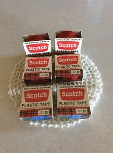 Vtg 3m Lot 6 Rolls Scotch Brand Plastic Tape Stretchy Decorate Repair Blue Red