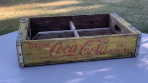Vintage Yellow Coca Cola Wooden Crate Bottle Carrier Sacramento-Marksville