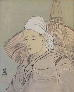 Fine Korean Minhwa Folk Hand Painting Jige Worker Signed Framed