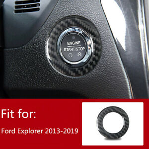Carbon Fiber Auto Start The Circle Ignition Key Trim For Ford Explorer 2013 2019