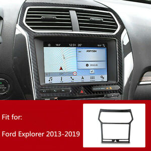 Carbon Fiber Interior Center Console Gps Panel Trim For Ford Explorer 2013 2019