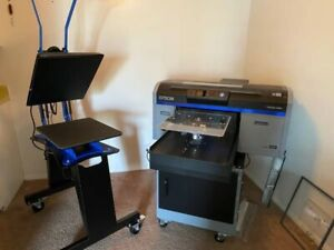 Epson F2100 Dtg Direct To Garment Printer Dk20 Heatpress With Stands Casters