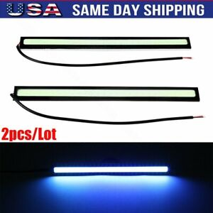 12v Ice Blue Led Drl Strip Lights Car Truck Boat Interior Under Dash Floor 2pcs