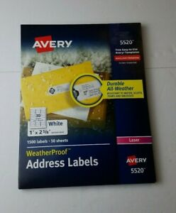 Avery 5520 Weatherproof Address Labels 1500 Lables 1 X 2 5 8 Laser New