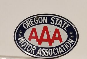 Vintage Oregon State Aaa Motor Association Car Emblem Plate Tag Topper Ceramic