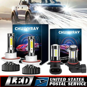 White H13 9008 Led Headlight 9145 Fog Light F2 Combo Pack For Ford F 150 04 14