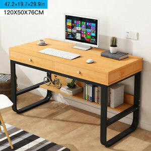 Computer Desk Pc Laptop Table Study Workstation Wood Home Office W drawers shelf