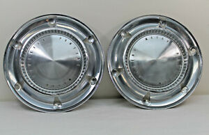 Vtg Pontiac Motor Division 14 Hubcaps Set Of 2 Rat Rod 1961 Dog Dish
