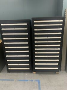 Lot Of 2 Stanley Vidmar Tool equipment Storage Cabinet 11 13 Drawers