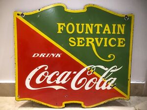Coca-Cola Fountain Service 2 Sided Die-Cut Porcelain Enamel Sign