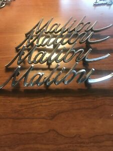 Chevy Malibu Trunk Emblem Badge Script Trim Metal Decal Sign Vintage Gm Car