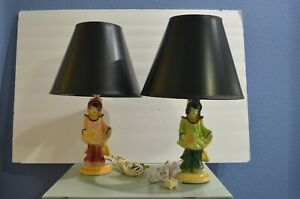 Pair Of Glazed Ceramic Chinese Figural Lamps With Shades Rare