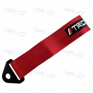 1x Red Jdm Trd Racing Drift Rally Car Tow Towing Strap Belt Hook Universal New