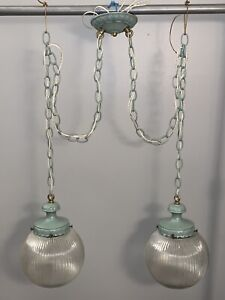 Vintage 1970 Antique Double Pendant Swag Light Newly Rewired Fixture Big Globes