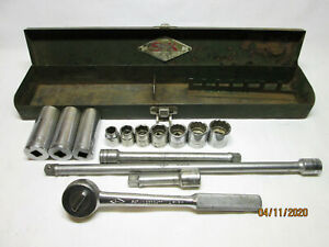 Sk Tools Diamond Logo 3 8 Drive Socket Set Metal Box Made In The Usa Incomplete