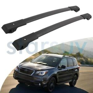 For Subaru Forester 2014 2018 Black Cross Bar Baggage Roof Rack Rail Carrier