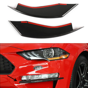 Pair Carbon Fiber Car Front Fog Light Lamp Cover Trim For Ford Mustang 2018 2020