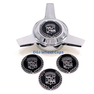 Cadillac Black On Chrome Lowrider Wire Wheel Metal Chips Emblems Size 2 25 s2