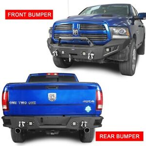 Black Front Bumper W Winch Plate Or Step Rear Bumper Fit 13 2018 Dodge Ram 1500