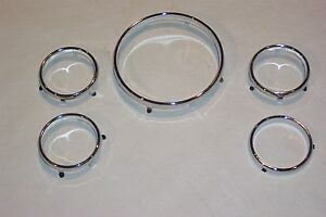 1956 Ford 1957 T Bird Chrome Dash Instrument Rings New Set Of 5 56 57
