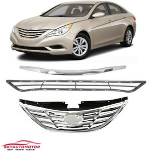 Fits Hyundai Sonata 2011 2013 Front Upper Grille Grill Chrome Replacement