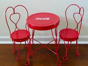Vtg.Red Metal COCA COLA Bistro/Ice Cream Table & Chairs Set Children's Doll Size