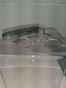 Antique Late 1800s Coin Silver Frame Spectacles W Silverplated C Parker Case
