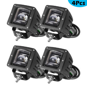 4x Pro 3 Dot Sae Led Fog Work Lights Bulbs Pods Driving For Off Road Jeep Ford