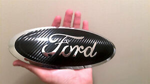 Ford Carbon Fiber Emblem Chrome Exposed Cut Out Decal Sticker Overlays Set Of 2