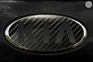 Kia Custom Badge Oval Carbon Fiber Emblem Overlay Cover Insert Decal Sticker Set
