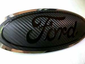 Ford Carbon Fiber Emblem Overlay Oval Blackout Decal Sticker Any Year Model Set