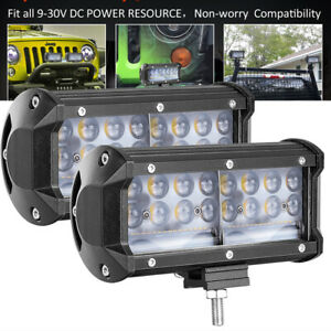 Pair 2 7 7d Cree Led Round Driving Spot Lights Off Road Work Pods Bar 4wd 12v