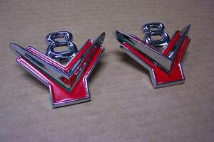 1954 1955 1956 Ford New Pair Of V8 Lower Front Fender Emblems New 54 55 56