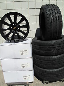 22 Chevrolet Tahoe Factory Style New Gloss Black Wheels 5922 And New Tires