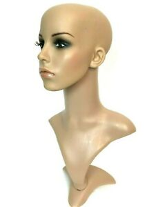 Mannequin Head Plastic Skin Tone Fir Free Standing 20 Inches High