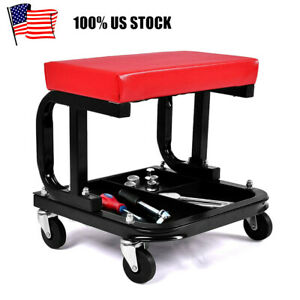 Padded Shop Seat Garage Stool Creeper Rolling Work Chair Mechanic Tool Tray
