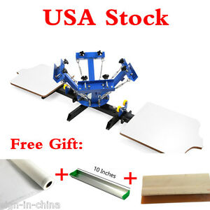 4 Color 2 Station Silk Screen Printing Press With 6 Pcs Aluminum Screen Frames