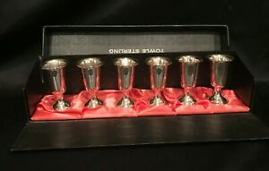 Towle Sterling Silver 58 Set Of 6 Cordial Shot Glasses With Box