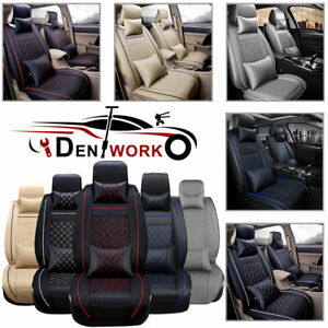 Universal Car Seat Covers Pu Leather Front Rear Cushion Set Accessories Interior