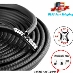 10 Feet Car Door Moulding Trim Black Edge Strip Lock Guard Rubber Seal Protector